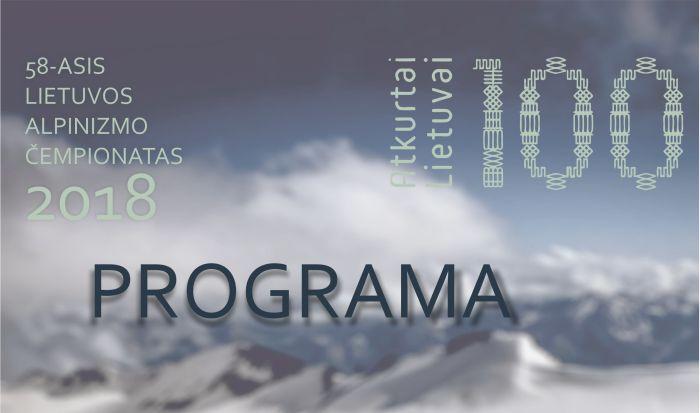 2018 m Lietuvos alpinizmo čempionato programa